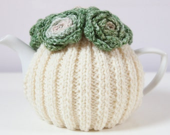 Cream Hand Knit Tea Cozy with Variegated Green Crocheted Flowers.Teapot Cozy. Teapot Cover. Gift for her.