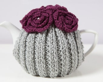 Silver Grey Hand Knit Tea Cozy with Deep Plum Crocheted Flowers.Teapot Cozy. Hand Knit Tea Cozy. Teapot Cover. Tea-Lovers Gift.