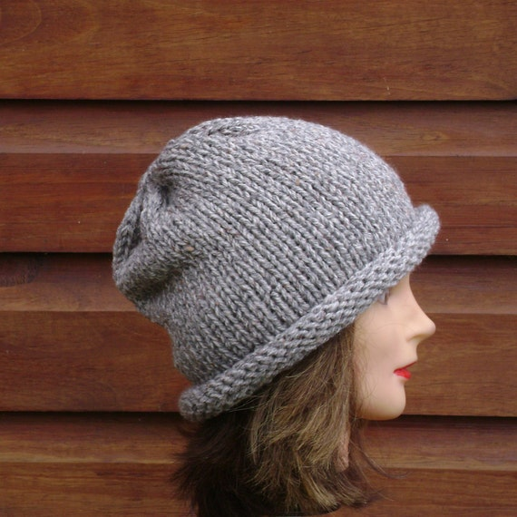 Crochet Beanie White Tan and Grey Tweed Chunky Wool with Brim