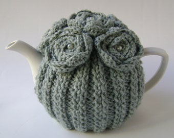 Hand-Knit Tea Cozy in Sage Green with Crocheted Flowers. 4-5 Cup Teapot Cover. Knit Tea Cozy. Tea-lovers Gift. Tea-time Accessory.