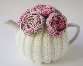 Hand- Knit Tea Cozy with Variegated  Crocheted Flowers. Knit Teapot Cozy. Medium Tea Cozy. Teapot Cover. Tea-Lovers Gift.