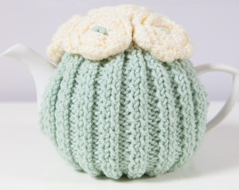 Green Hand Knit Tea Cozy with Cream Crocheted Flowers. Teapot Cozy. Knitted Tea Cozy. Teapot Cover. Tea-Lovers Gift.