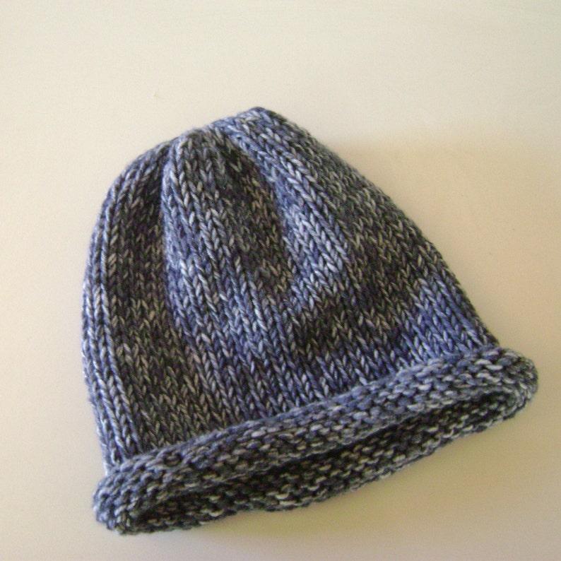 Knitted Roll Brim Hat,Chunky Blue Grey Beanie