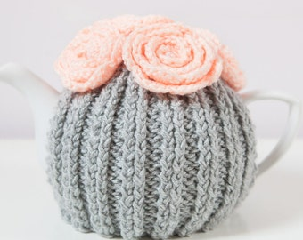 Silver Grey Hand Knit Tea Cozy with Peach Crocheted Flowers. Teapot Cosy. Teapot Cover. Hand Knit Tea Cozy. Tea-Lovers Gift.