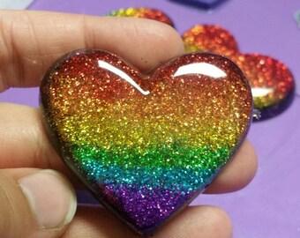 Rainbow Glitter Heart Magnet/Keychain