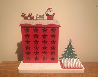 Freestanding Christmas Countdown Advent Calendar, Advent Calendar,