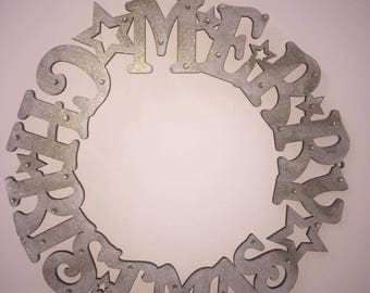 Gold Wooden Christmas Wreath, Merry Christmas, Christmas Decoration, Wall