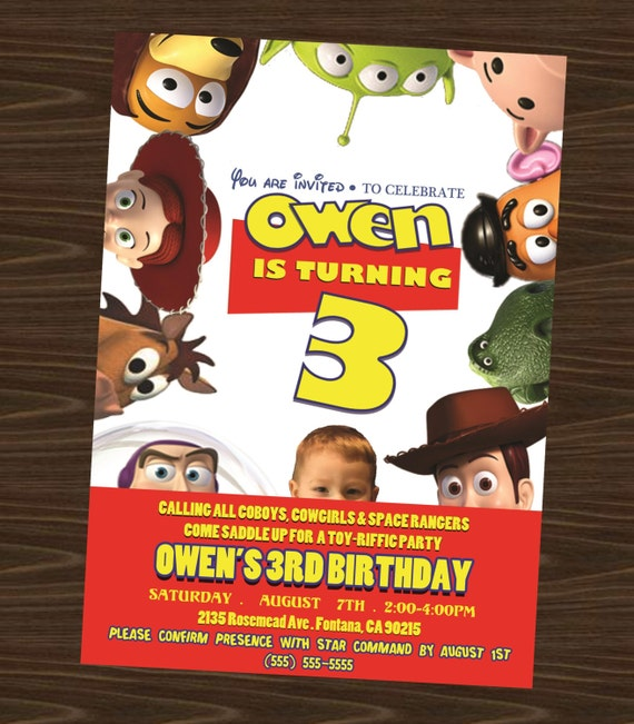 Toy Story Printable Birthday Invitation (with photo)