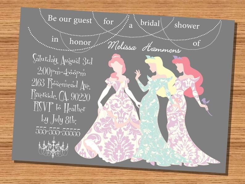 1e463ca0a3c7 Princess wedding shower invitation Disney Princesses