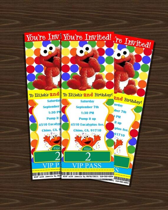 Elmo Birthday Invitation Sesame Street Ticket Style Birthday
