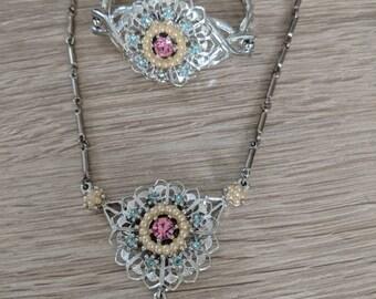 Blue Pink Rhinestone Pearl Necklace Bracelet Set