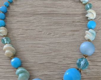 Fun Vintsge Aqua Beaded Necklace