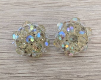 Vintage Yellow Iridescent Crystal Cluster Earrings