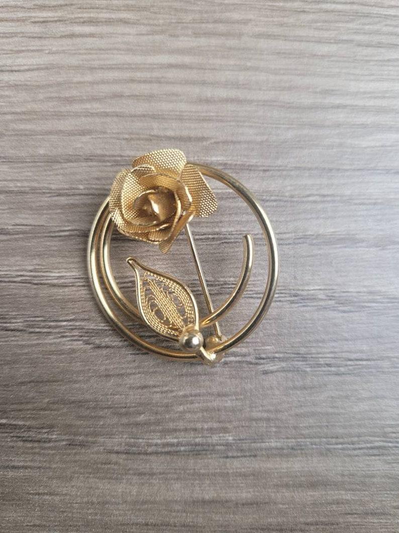 Rose Goldtone Filigree Circle Brooch Pin