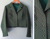 Vintage Quilted Jacket Victorian Style Blazer Austrian German Hunter Green Floral Antique Silver Buttons Tailored Cotton Size 44 Large XL