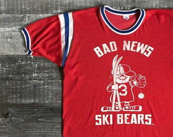 639c8f18 Vintage 1960's Baseball Ski Jersey T-Shirt Red Ringer Tee Striped Stripe  Short Sleeve White Blue Retro Sports Team Bad News Bears Size Large