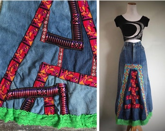 Denim dress No waste Vegan Maxi dress Full skirt Sleeveless dress Long dress Cotton dress Patchwork Boho Hippie Steampunk Gift for her