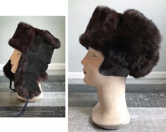 9320cf90759 Vintage Fur Trapper Hat Brown Rabbit Fur Hat Black Leather Suede Quilted Russian  Soviet Ushanka Cap Ear Flaps Muffs Winter Hat Size Small 21
