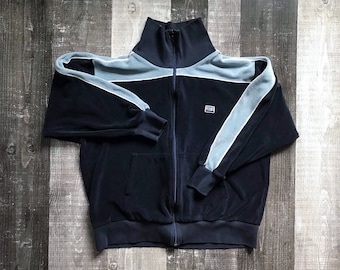 acd50f2a7919 Levi's Retro Men's Vintage Track Jacket 80's 90's Velour Navy Blue Levi  Strauss Stripe Suit Top Color Block Hipster Zip Up Sport Size Large