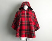 Holiday Christmas Cape Vintage Irish Wool Hooded Red Tartan Plaid Poncho with Black Lined Hood O 39 Neil of Dublin Size XS Small Medium Large