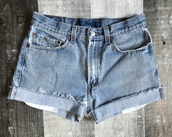 Levi's 505 High Waisted Shorts Vintage Levis Cut Off Short Levi Shorts High Waist Denim Cutoffs Distressed Red Tab Jean Size 31 Medium 6 8 l