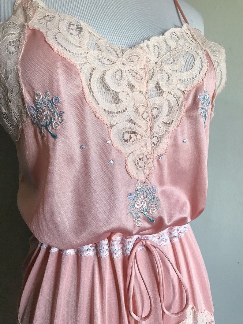 bbb7835a6 Vintage Pink Lace Nightgown Slip Dress Sexy Satin Lingerie