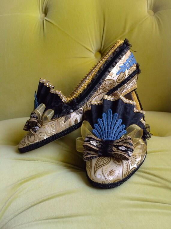 4e591aaa7195f Marie Antoinette Costume Heels Shoes Black Gold Blue Brocade Jacquard  Baroque Rococo Fantasy Pumps 18th Century Wedding Shoes Heels CUSTOM