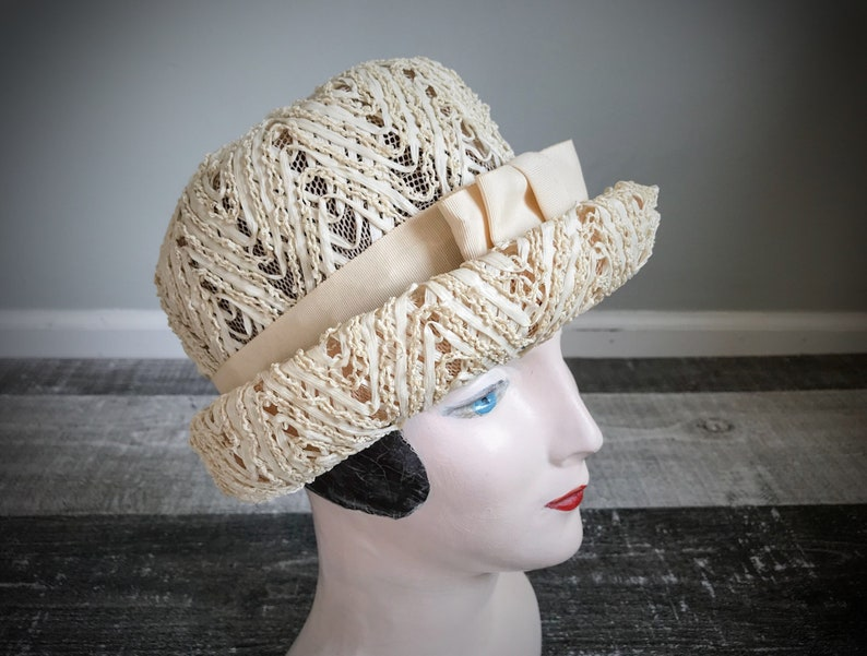 7e9d97a9713e0 Vintave 1950 s 60 s Summer Straw Hat Ivory Cream