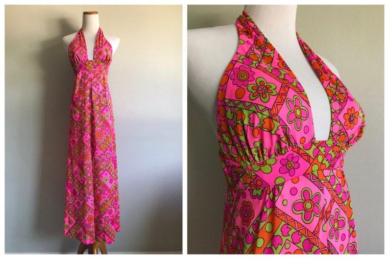 29d64f7040 Vintage 1960s Pink Orange Green Maxi Dress Bright Floral