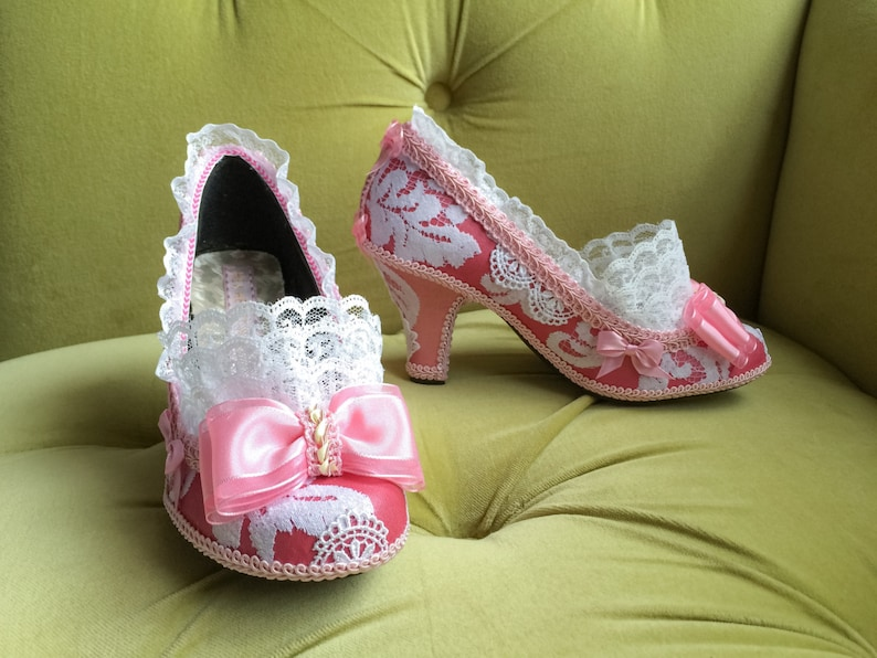 43191216565ba Marie Antoinette Costume Shoes Heels Rococo Baroque Fantasy Pumps Light  Pink Bows and Snow White Lace Ruffle French Revolution Kawaii CUSTOM