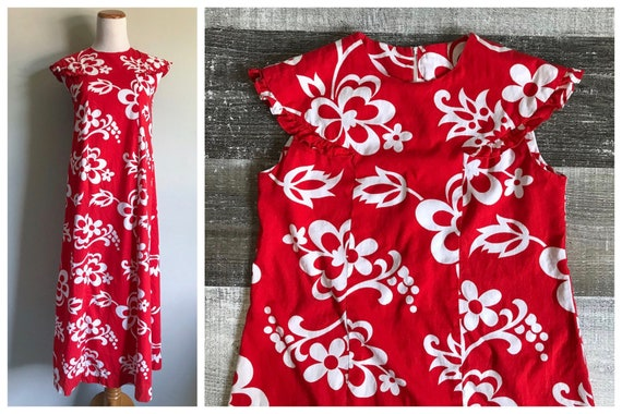 4687be9249 Vintage 1960's Hawaiian Dress Red White Floral Maxi Sun | Etsy