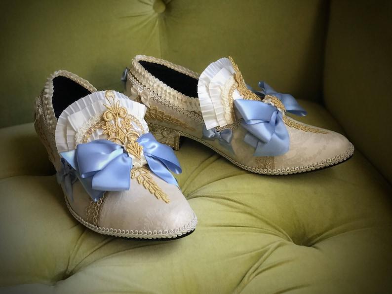 7cc71f9d893c2a Herren Brokat Schuhe blau Satin Gold Elfenbein Champagner