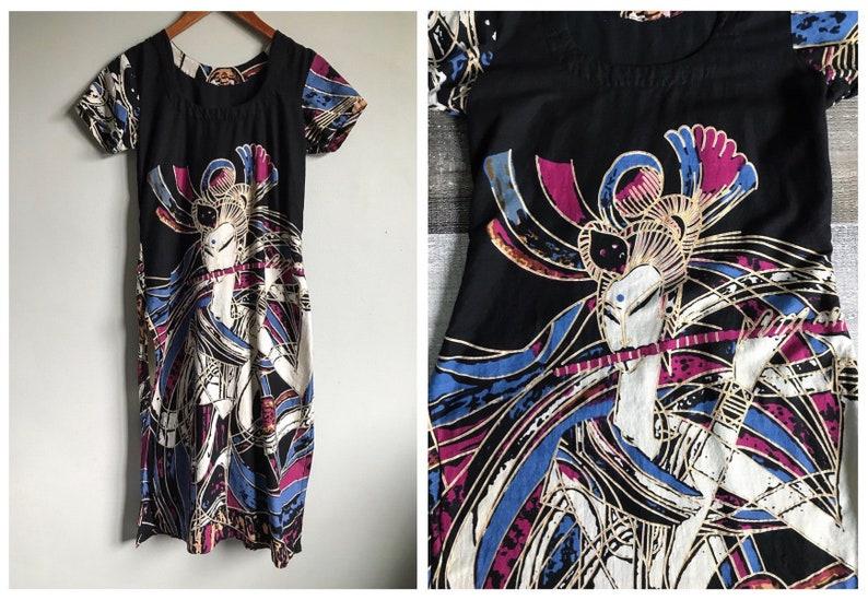 2418e4890fd Vintage Asian Tunic Dress Batik Cotton Top Indian Kurta Side   Etsy