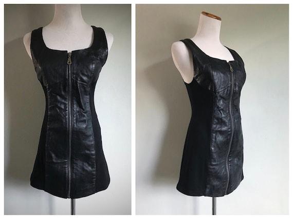Vintage Black Leather Dress Bodycon Moto Biker Str