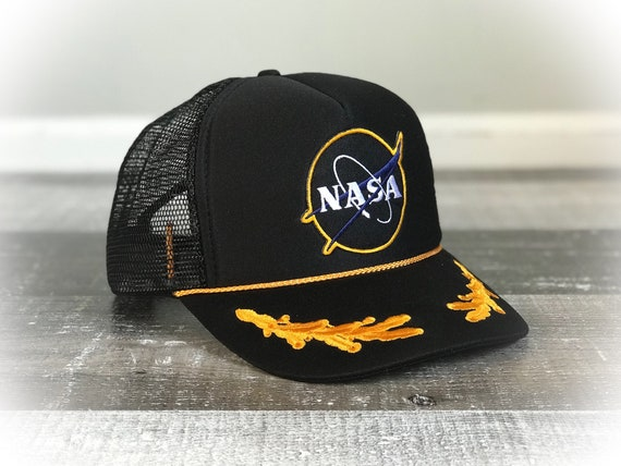 Vintage 1970 s NASA Patch Mesh Trucker Hat Black Yellow  18493374f7e