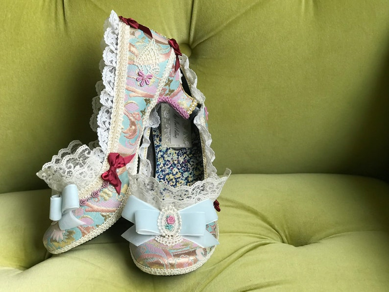 e0922af725bb2 Marie Antoinette Costume Heels Shoes Rococo Baroque Fantasy Brocade Gold  Red Rose Mauve Pink Ivory Lace Ruffle French Lolita Kawaii Cosplay