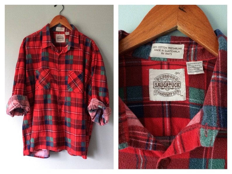 667fd963433 Mens Plaid Flannel Shirt Vintage Red and Green Holiday