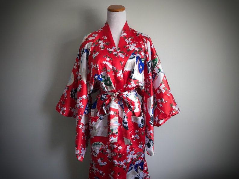 33991ed5a Vintage Red Asian Kimono Robe Long Satin Dressing Gown Geisha | Etsy