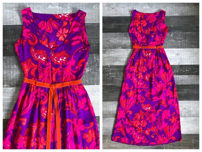 7c3f7afb6b6d Vintage Hawaiian 1960s Dress Purple Pink Orange Maxi Tiki Mod | Etsy