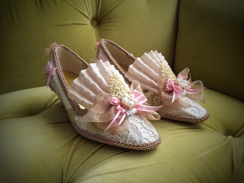 ab7690b0d2e15 Marie Antoinette Heels Shoes Rococo Baroque Fashion Costume Pink Satin Fawn  Beige Ivory Lace Gold Pearls 18th Century Versailles Wedding