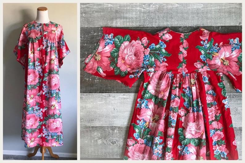 89d92bb0e88 Vintage 1960 s Cotton Kaftan Dress Pink White Green