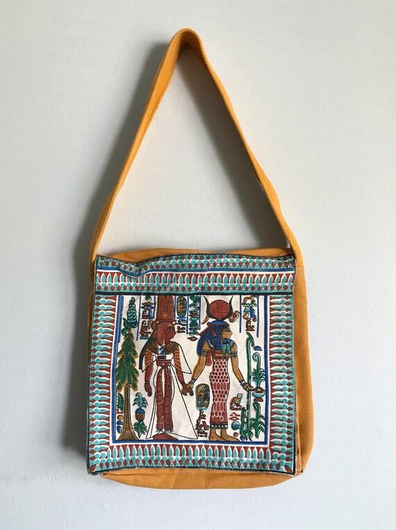 Vintage Egyptian Messenger Bag Purse Hieroglyphic