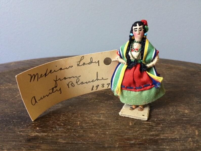 e280db12180a0 1930 mexikanische Frau Folk Puppe Tracht Kostüm Baumwolle