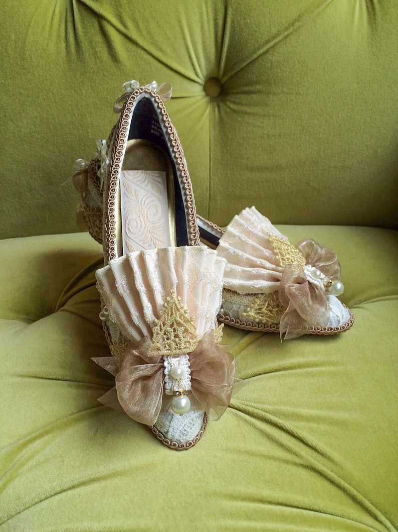 6a6ae9f4df73c Marie Antoinette Heels Shoes Rococo Baroque Fashion Costume Fawn Beige  Ivory Lace Heel Shoe Bridal Gold and Pearls 18th Century CUSTOM
