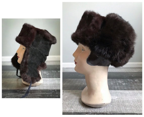 0b92d5e7b7e Vintage Fur Trapper Hat Brown Rabbit Fur Hat Black Leather