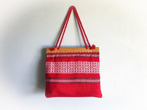 976160a96d2 Vintage 1960's Market Tote Bag Woven Purse Handwoven | Etsy