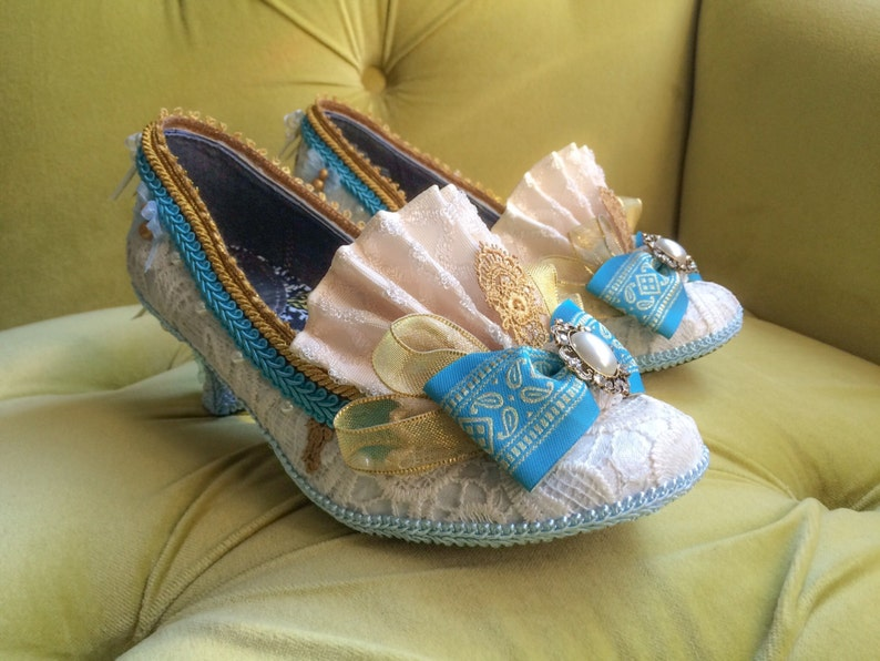 5326f21c18f3e Marie Antoinette Costume Shoes Ivory Lace Gold Turquoise Blue French  Revolution Heels Baroque Rococo Mardi Gras 17th 18th Century Fashion