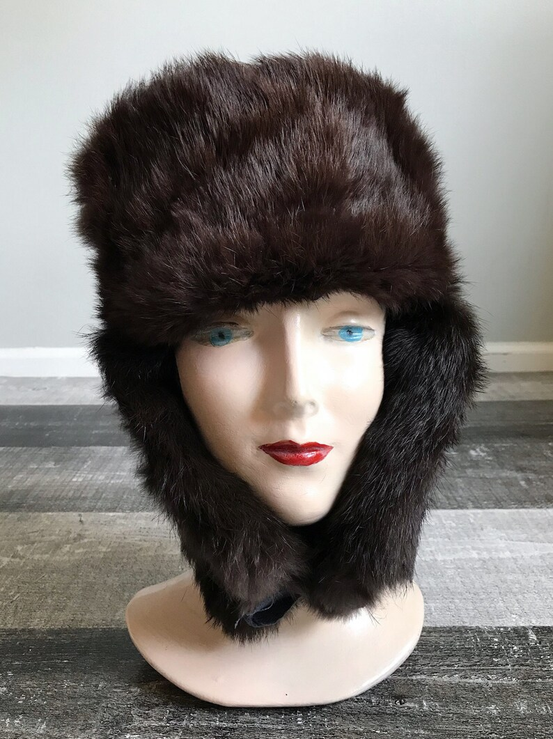 Vintage Fur Trapper Hat Brown Rabbit Fur Hat Black Leather  f929e80ce