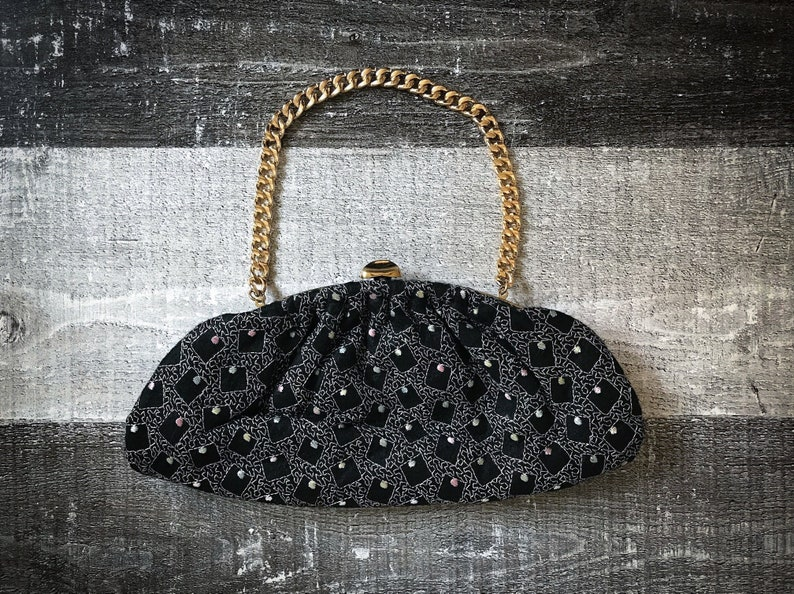 5dfa070cc8e81 Jahrgang 1950 Abendtasche schwarze bestickte Clutch Pink