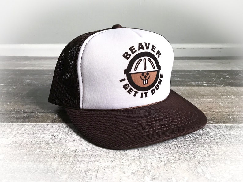 9672c015159 Vintage 1970s Trucker Hat Beaver Funny Adult Cap Silly Sex